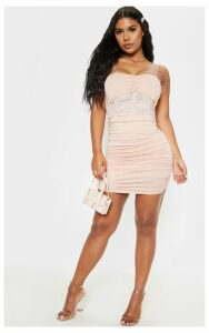 Nude Strappy Ruched Mesh Insert Bodycon Dress, Pink