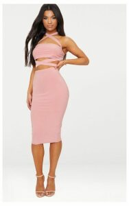 Rose Slinky Midi Skirt, Pink