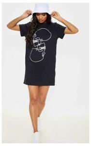 Black Skull Slogan Oversized T Shirt Dress, Black