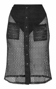Black Crochet Button Front Midi Skirt, Black