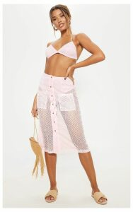 Baby Pink  Crochet Button Front Midi Skirt, Pink