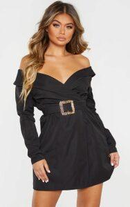 Black Bardot Belt Detail Shift Dress, Black