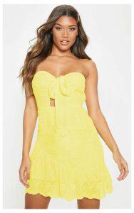 Lemon Broderie Bandeau Skater Dress, Lemon