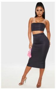Black High Stretch Midi Skirt, Black