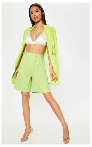 Lime Turn Up Hem Longline Short, Green