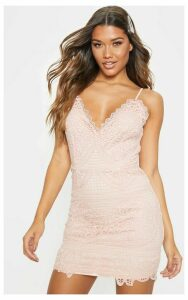 Dusty Pink Strappy Plunge Lace Bodycon Dress, Dusty Pink