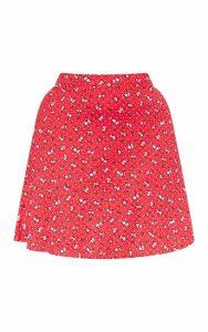 Plus Red Ditsy Floral Skater Mini Skirt, Red