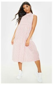 Red Stripe High Neck Tiered Midi Dress, Red