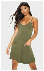 Khaki Pocket Front Swing Dress, Green