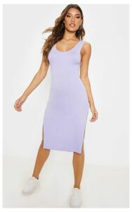 Lilac High Neck Drop Arm Hole Midi Dress, Purple