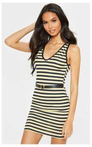 Yellow Stripe Ribbed V Neck Bodycon Dress, Yellow