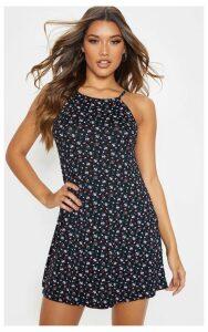 Black Ditsy Basic Ruched Halterneck Shift Dress, Black
