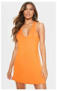 Orange Jersey V Plunge Sleeveless Shift Dress, Orange