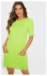 Lime Pocket Detail T Shirt Dress, Green