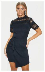 Black Lace Yoke Wrap Dress, Black