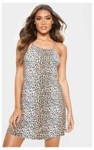 Tan Leopard Basic Ruched Halterneck Shift Dress, Brown