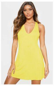 Yellow Jersey V Plunge Sleeveless Shift Dress, Yellow