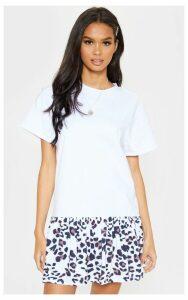 White Printed Frill Hem T Shirt Dress, White