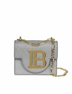 Balmain B-bag 18 Shoulder Bag In Silver Glittered Leather