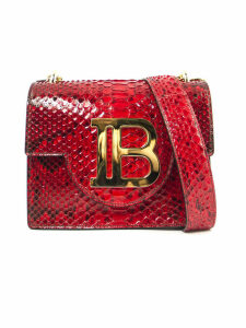 Balmain Red Snake Leather Shoulder Bag