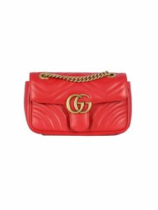 Gucci Gg Marmont Xs I: Whit Flap, Brass Logo Gg On The Flap Chain And Strap Brass