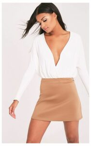 Jessica Camel A-Line Mini Skirt, Camel