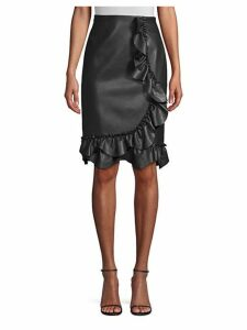 Faux-Leather Ruffle Skirt
