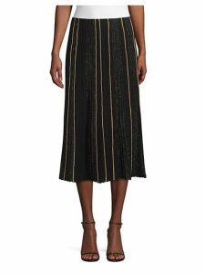 Ottoman Pleat Sequin Silk Lurex Midi Skirt