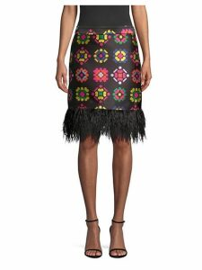 Geometric Jacquard Fringe Pencil Skirt