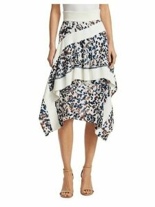 Layered Painted Dot Silk Ruffle Skirt