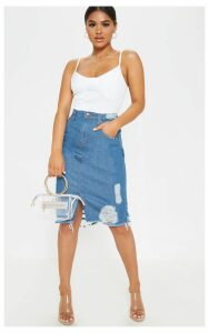 Petite Mid Wash Distressed Hem Midi Skirt, Mid Blue Wash