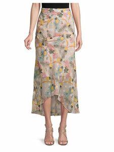 Pineapple Print Shirred Front Midi Skirt