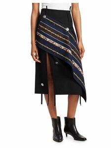 Asymmetrical Wool Midi Skirt