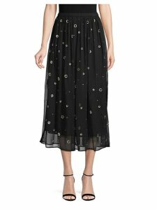 Metallic Embroidery Silk Skirt