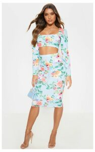 Blue Floral Print Bodycon Midi Skirt, Blue