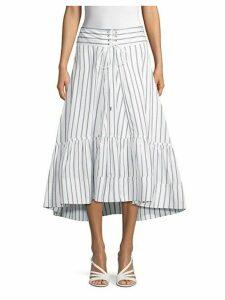 Striped Midi Flare Skirt