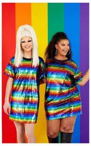 Plus Multi Sequin Stripe Oversized Dress, Multi