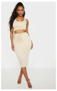 Shape Stone Sweat Drawstring Midi Skirt, White