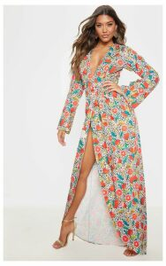 White Fruit Geometric Print Kimono Maxi Dress, White
