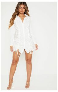 White Double Ruched Front Shirt Dress, White