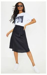 Black Linen Mix Tie Waist Midi Skirt, Black