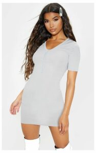 Grey Button Front Ribbed Bodycon Dress, Grey
