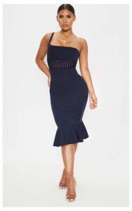 Navy Mesh Trim One Shoulder Bodycon Dress, Blue