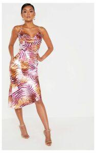 Pink Tropical Print Satin Cowl Neck Midi Dress, Pink