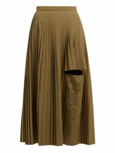 Toga - Cut Out Pleated Midi Skirt - Womens - Khaki