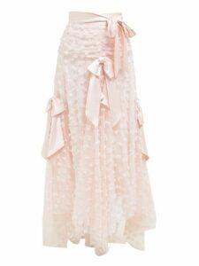Rodarte - Satin Bow Appliqué Layered Tulle Midi Skirt - Womens - Light Pink