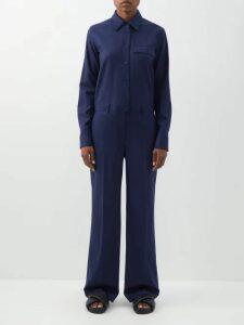 Alexachung - Double Breasted Cotton Blend Blazer - Womens - Cream