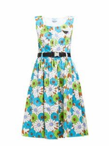 Prada - Blossom Print Cotton Poplin Dress - Womens - White Multi