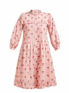 Sea - Ruffled Floral Print Cotton Dress - Womens - Pink Multi