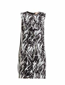 No. 21 - Zebra Print Vinyl Bow Shift Dress - Womens - Black White